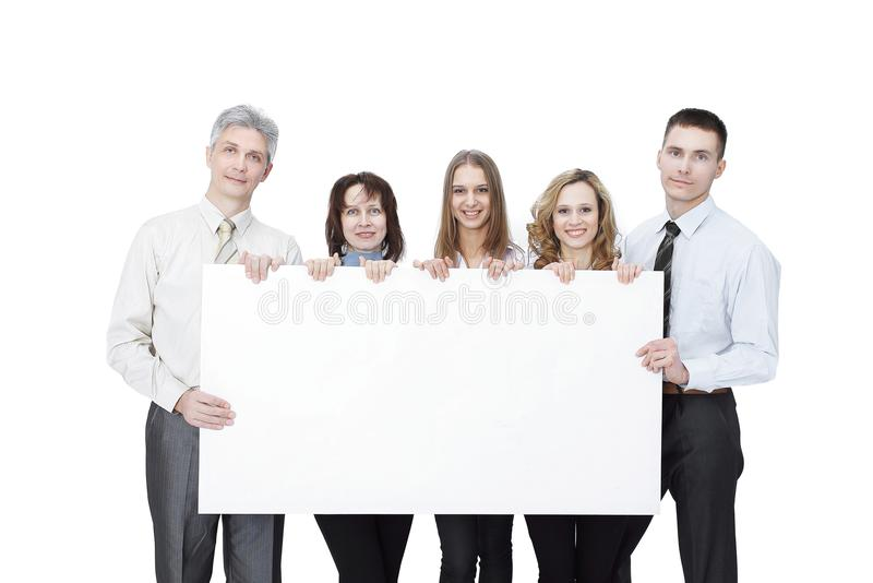 Professional business team with big blank poster stock photo