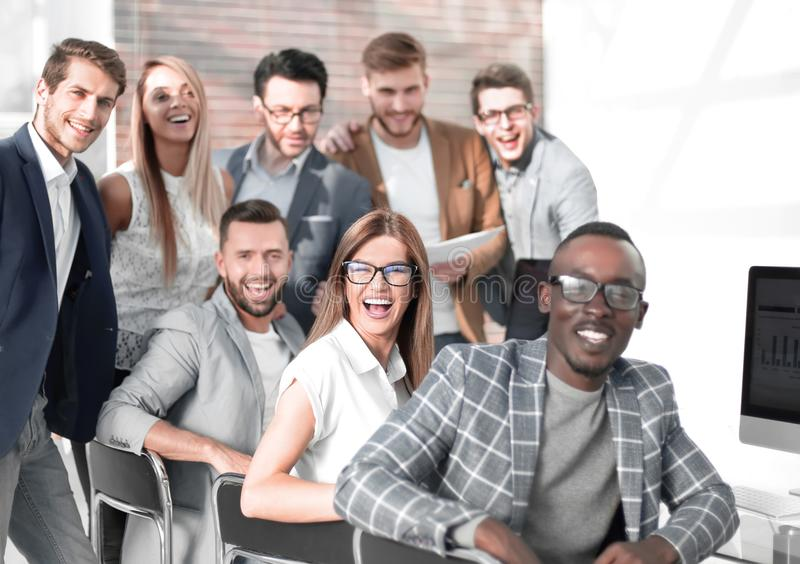 Professional business team in the workplace stock images