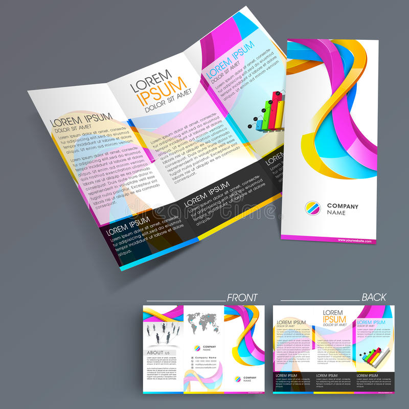 Professional Business Three Fold Flyer Template Stock Illustration