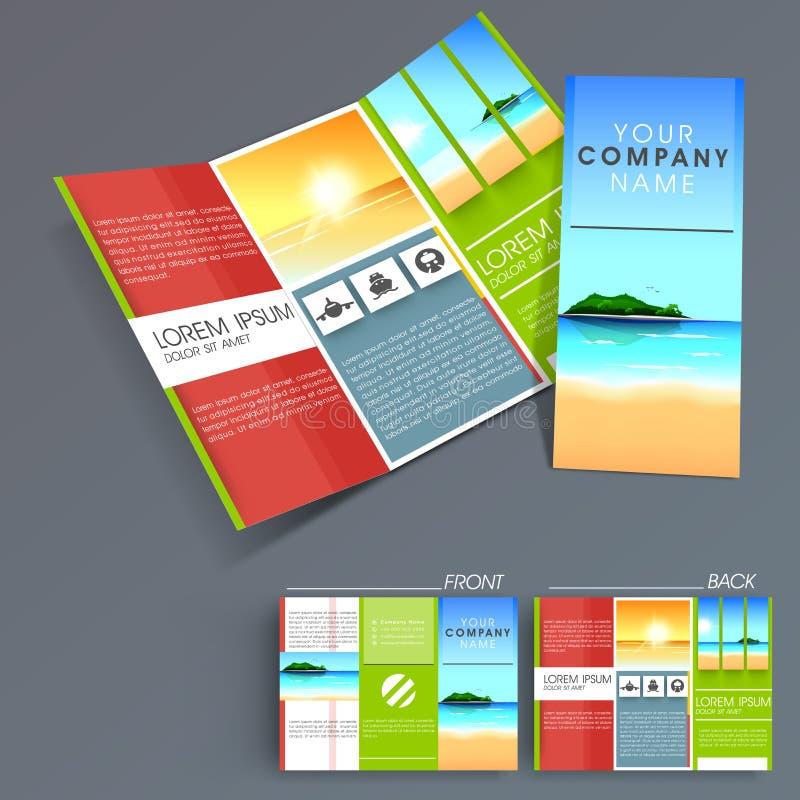 Professional Business Three Fold Flyer Template Stock Illustration