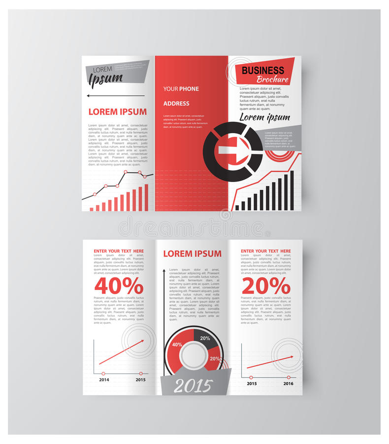 Professional business three fold flyer template royalty free illustration