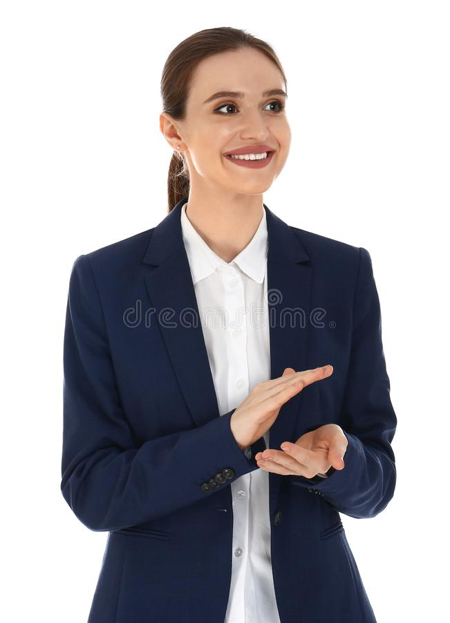 Professional business trainer clapping on white. Background stock photo