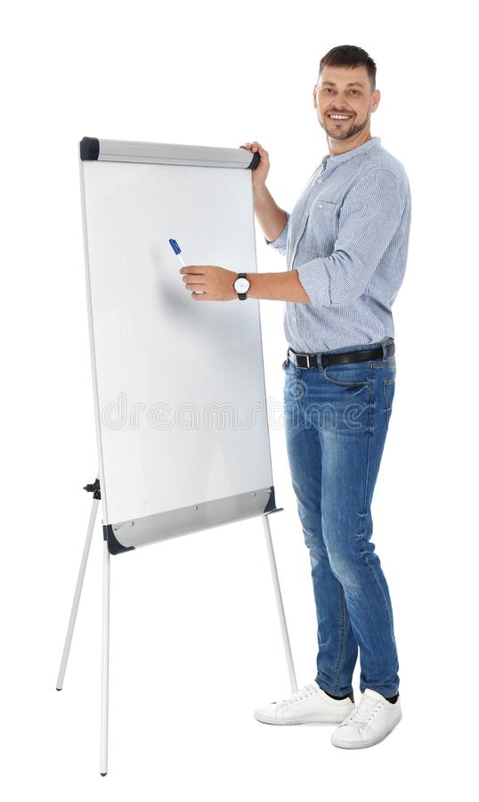 Professional business  near flip chart board on white background. Space for text royalty free stock images