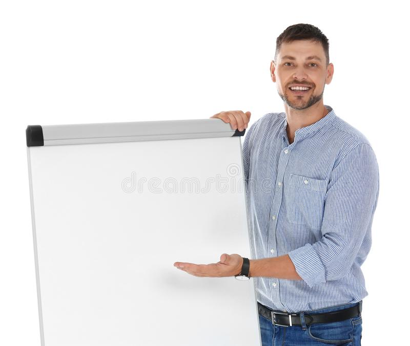 Professional business trainer nearflip chart board on white background. Space for text royalty free stock photos