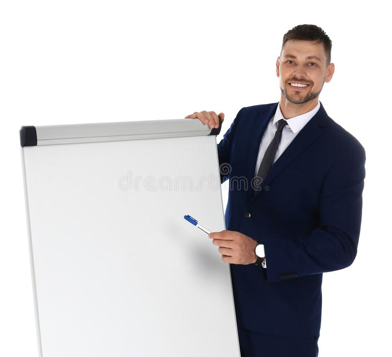 Professional  trainer near flip chart board on white background. Space for text royalty free stock images
