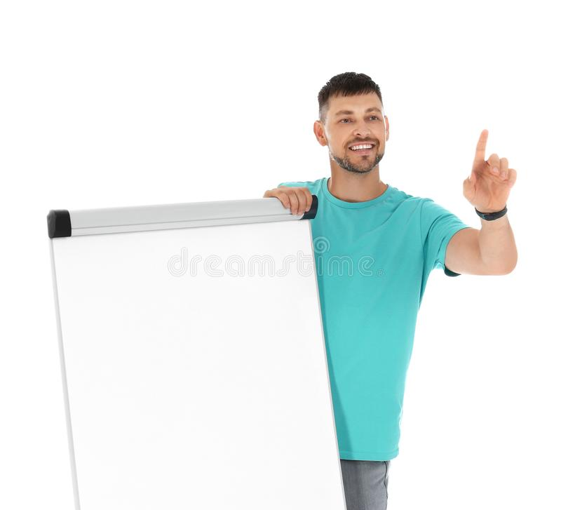 Professional business trainer near  chart board on white background. Space for text stock photography