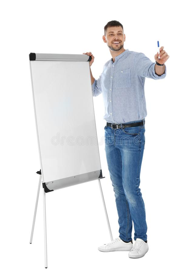 Professional business  near flip chart board on white background. Space for text stock images