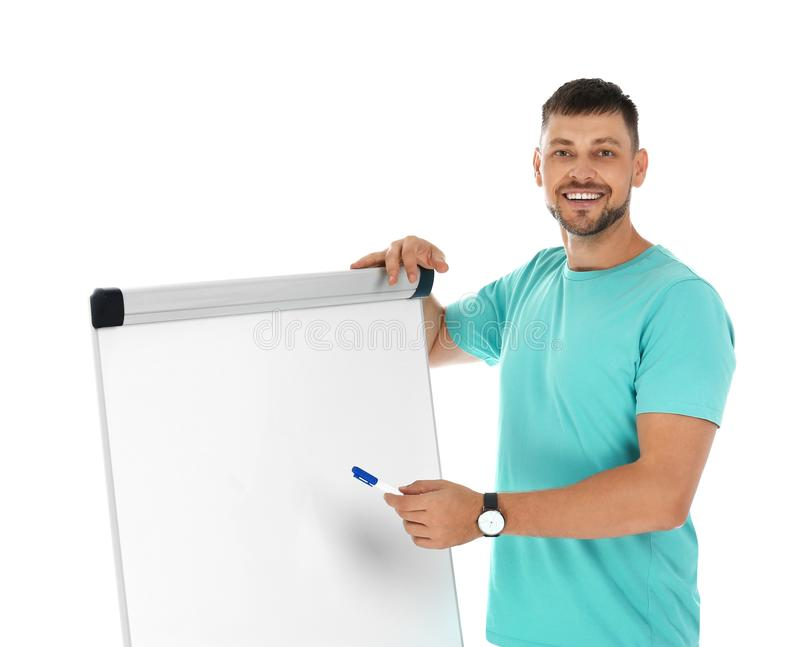 Professional business trainer near flip chart board on white background stock photo
