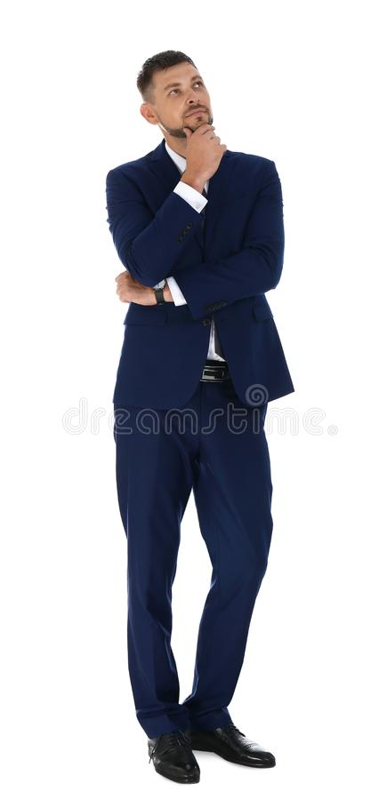 Professional business trainer posing on white royalty free stock photos