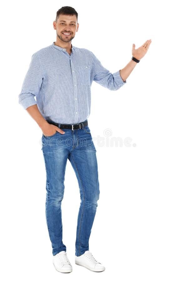Professional business  showing at something on white background stock images