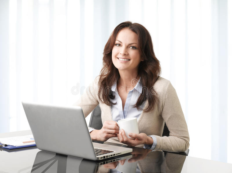 Professional businesswoman working on laptop royalty free stock image