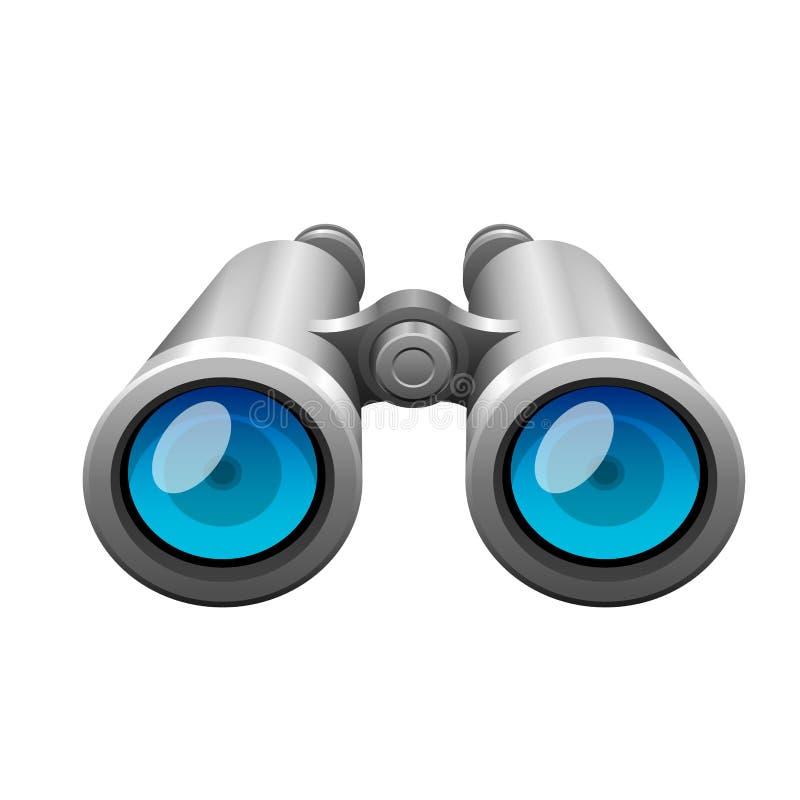 Professional camera lens binocular glass look-see optic device camera digital focus optical equipment vector. Professional camera lens binoculars glass look-see royalty free illustration