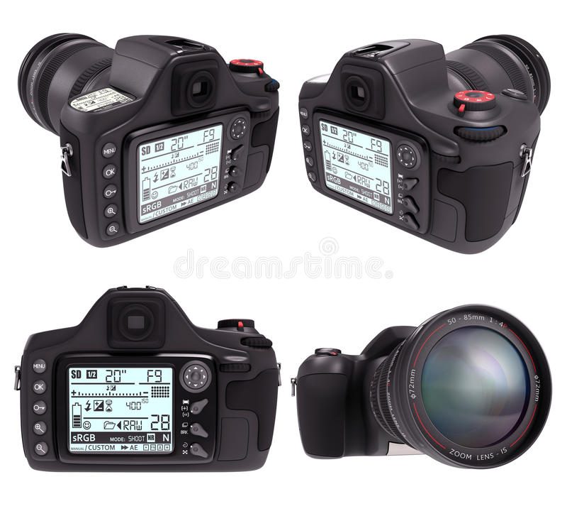 Professional Camera Over White Royalty Free Stock Photo