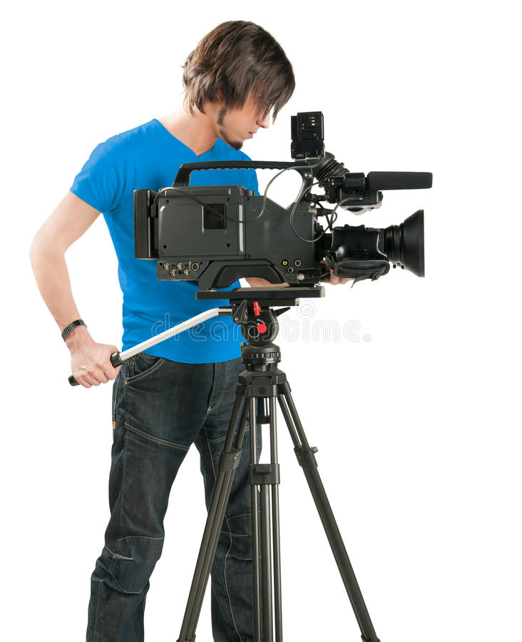 Professional cameraman on white background. Professional cameraman, isolated on white background. Industry tv royalty free stock photo
