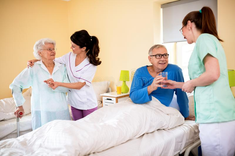 Professional care at nursing home royalty free stock image