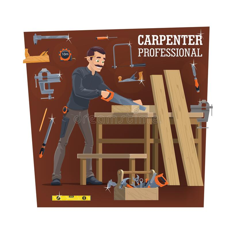 Free Professional Carpentry Worker Character, Vector Stock Images - 188686404