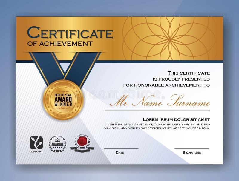 Professional Certificate Template Design Stock Vector Illustration