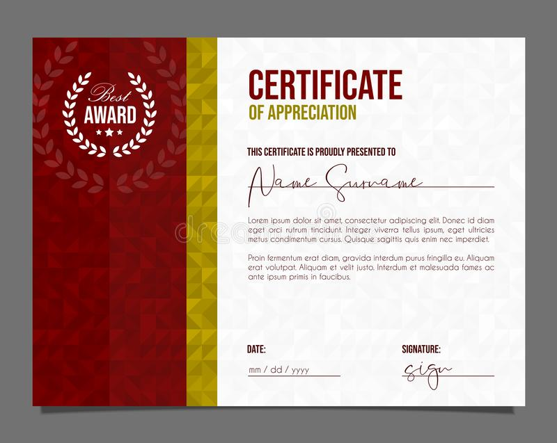 Professional certificate. Template diploma with luxury and modern pattern background. Achievement certificate royalty free stock photo