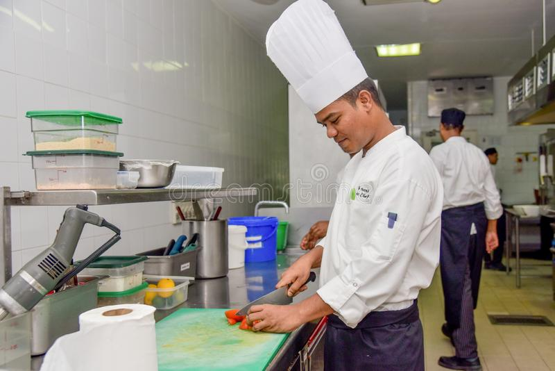 Professional chef cutting vegetables for a dish at the kitchen of the restaurant. In Maldives stock photography