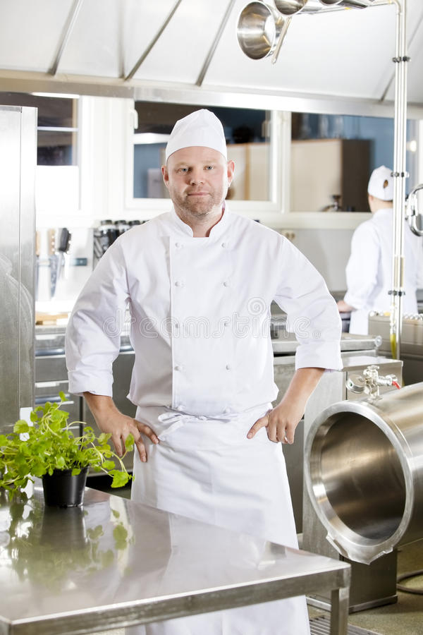 Professional chef standing in large kitchen. Portrait of a confindent and smiling male chef standing in the large kitchen with his hands on the hips. Assistant stock photo