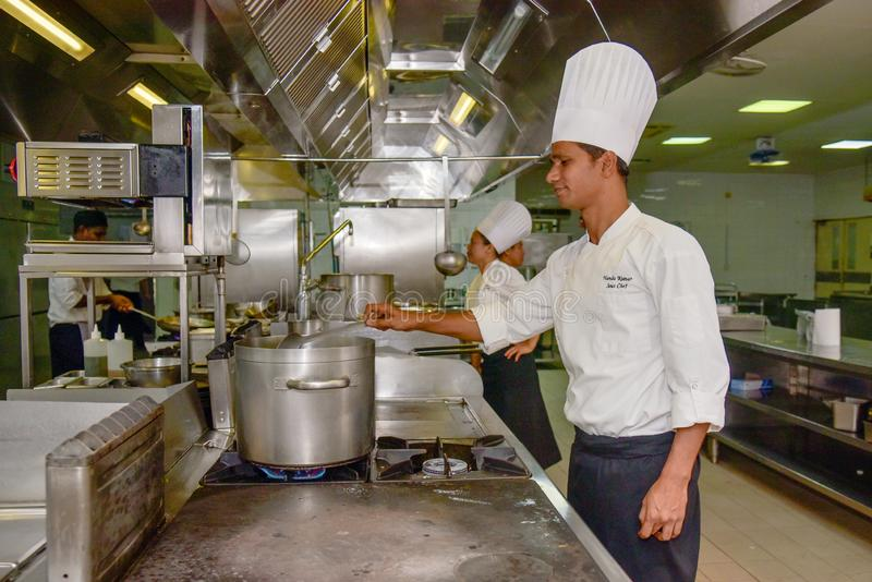 Professional chef cooking at the kitchen of the restaurant stock photo
