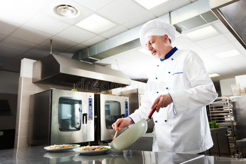 Professional chef at work stock photo