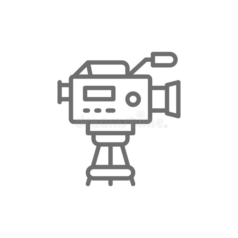 Professional cinema camera with microphone line icon. royalty free illustration