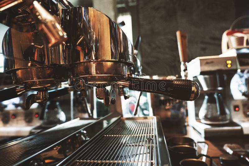 Professional stylish big coffee machine in cafe royalty free stock images