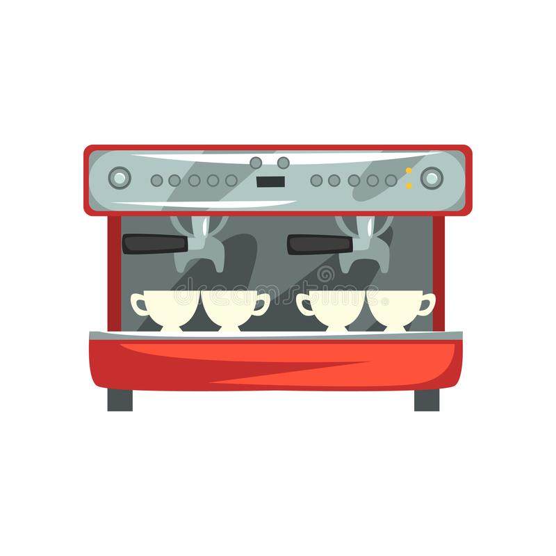 Professional coffee machine cartoon vector Illustration on a white background. Professional coffee machine cartoon vector Illustration isolated on a white vector illustration