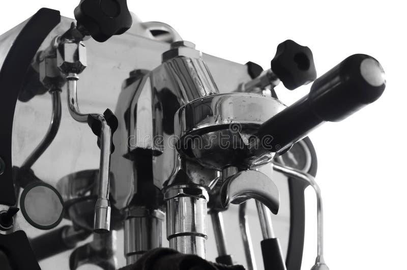 Professional coffee machine making espresso in a cafe stock photo