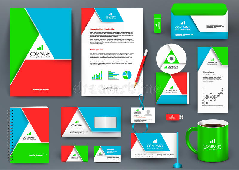 Professional colorful universal branding design kit with triangle origami element. stock illustration