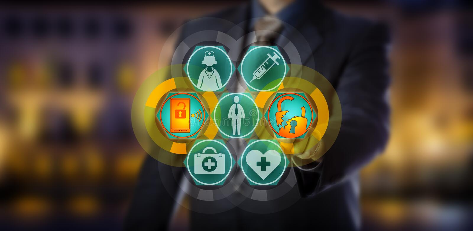 Professional Committing Health Care Data Breach. Unrecognizable professional is initiating a cyber attack on health care data. IT concept for healthcare data stock photo