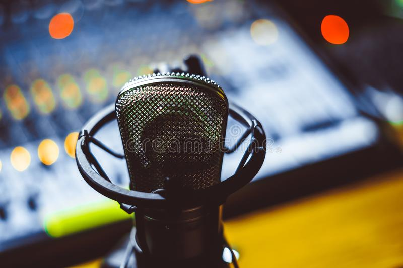 Microphone and mixing console stock image