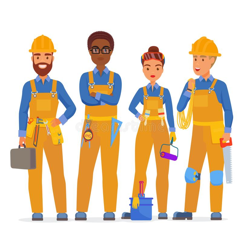 Professional construction workers specialists characters team. Friendly workers in workwear uniiform standing together stock illustration