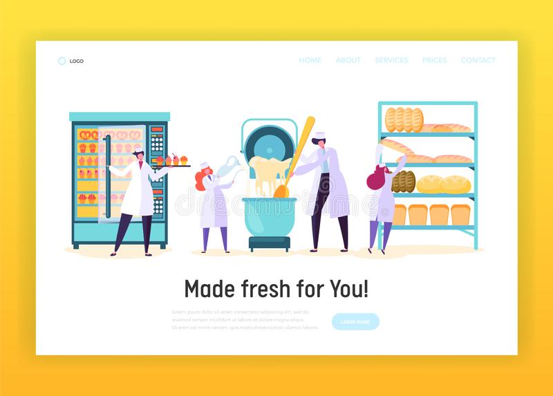 Professional Cook in Chef Uniform in Kitchen Landing Page. Male and Female Character Make Dough, Bake Bread, Muffin royalty free illustration