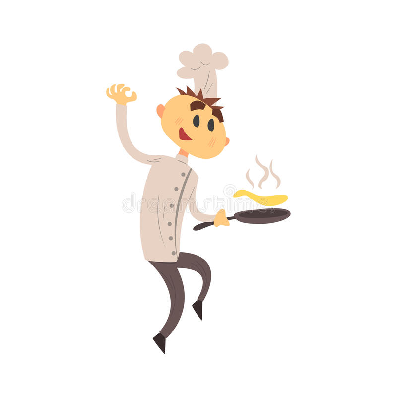 Professional Cook In Classic Double Breasted White Jacket And Toque Frying Pancakes. Colorful Vector Chef Cartoon Character Cooking In Restaurant Kitchen stock illustration