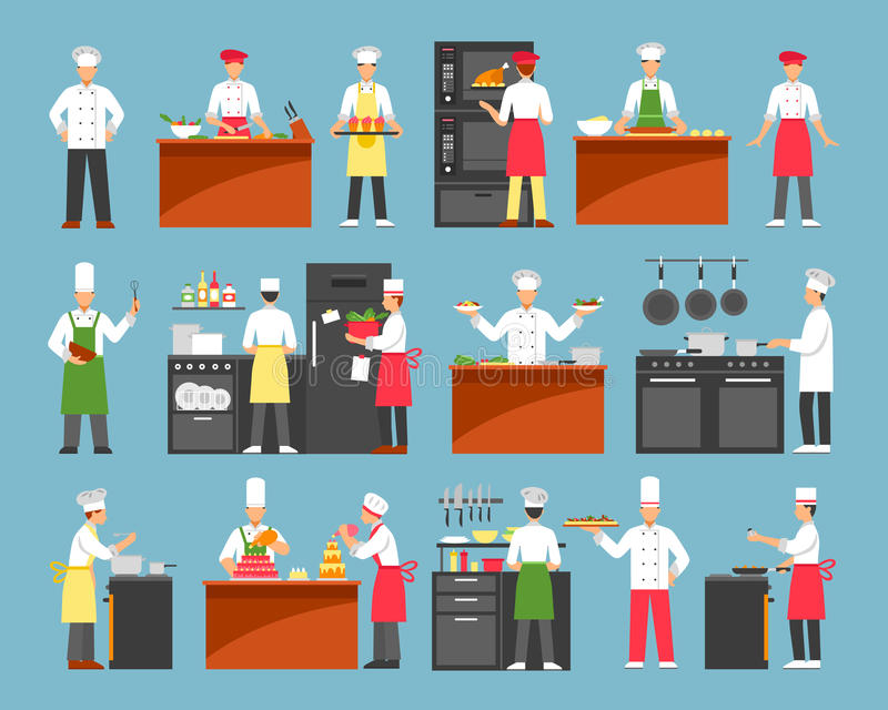 Professional Cooking Decorative Icons Set royalty free illustration
