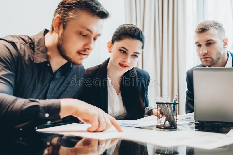 Professional cooperation business partners project stock photo