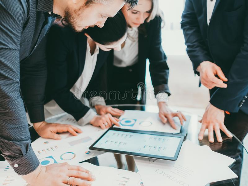 Professional cooperation business partners report stock photo