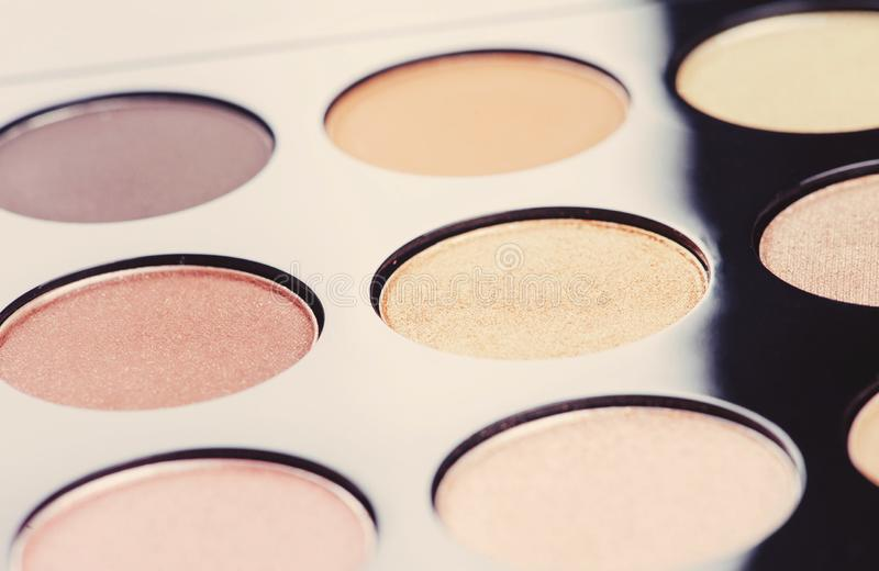 Professional cosmetics for make up. On black background, accessories, accessory, applicator, beautiful, beauty, blush, blusher, brown, brush, care, collection royalty free stock images