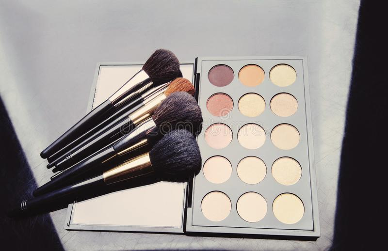 Professional cosmetics for make up. On black background, accessories, accessory, applicator, beautiful, beauty, blush, blusher, brown, brush, care, collection stock images