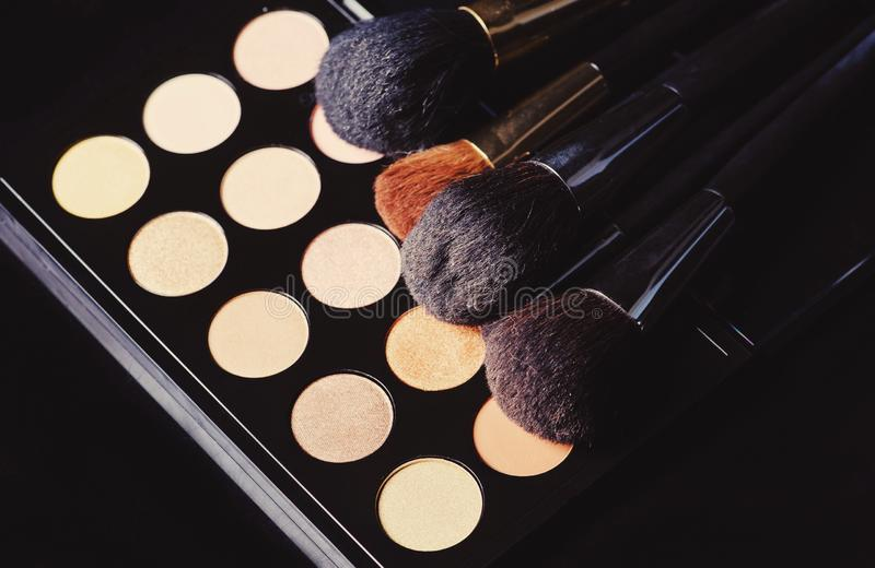Professional cosmetics for make up. On black background, accessories, accessory, applicator, beautiful, beauty, blush, blusher, brown, brush, care, collection stock photo