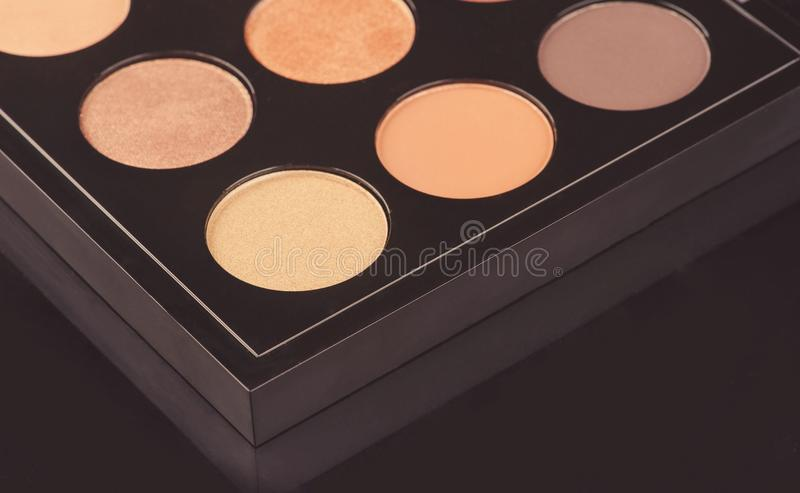 Professional cosmetics for make up. On black background, accessories, accessory, applicator, beautiful, beauty, blush, blusher, brown, brush, care, collection stock photography