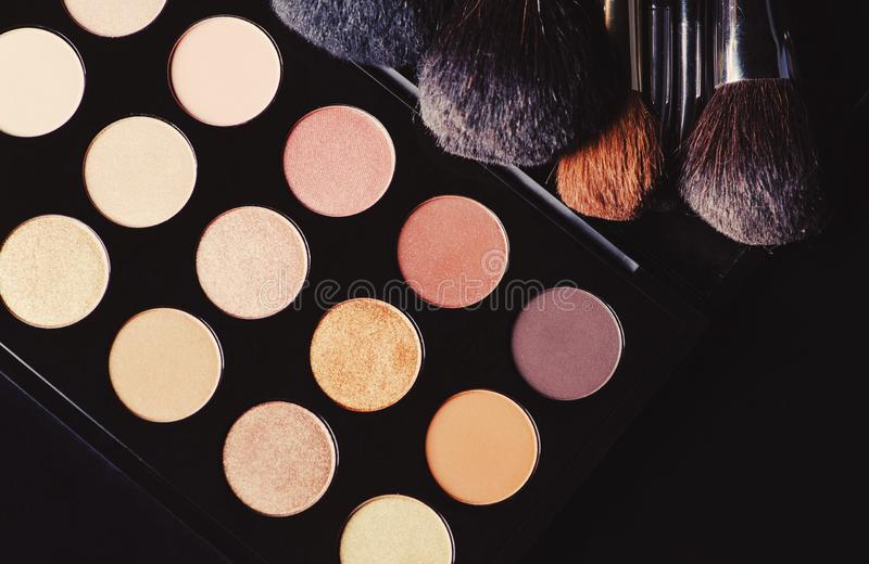 Professional cosmetics for make up. On black background, accessories, accessory, applicator, beautiful, beauty, blush, blusher, brown, brush, care, collection royalty free stock photos