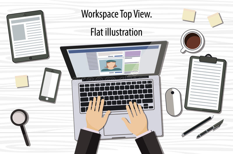 Professional creative graphic designer working at office desk, he is designing a vector illustration using a laptop royalty free illustration