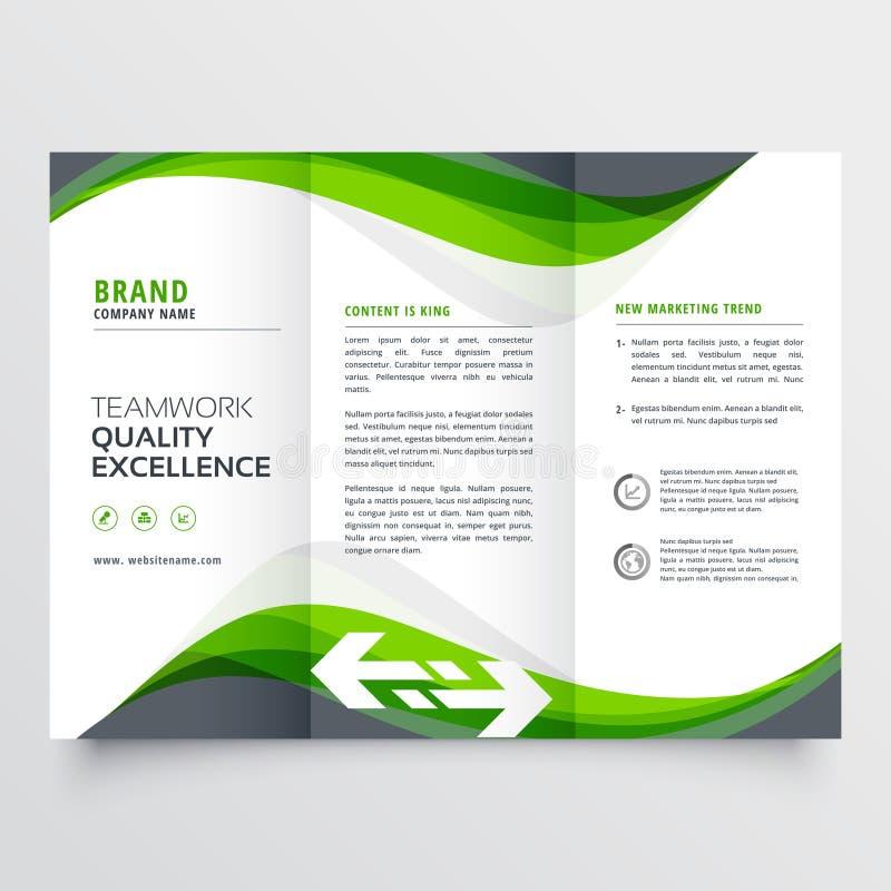 Professional creative green wavy trifold brochure design royalty free illustration