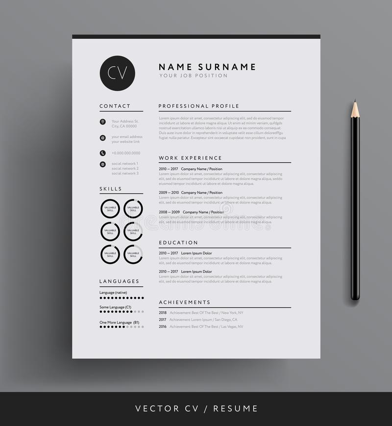 Professional CV resume template design for a creative person - v vector illustration