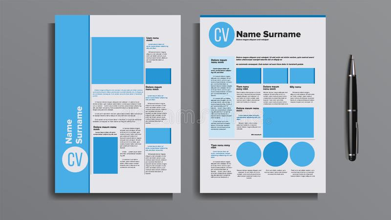 Professional Cv Resume Template Design Vector royalty free illustration