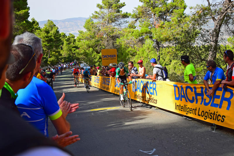 Professional Cycle Racers La Vuelta España Cycle Race. The Worlds top riders battle it out near the mountain top finish in the 2017 La Vuelta Espana bike race royalty free stock photos