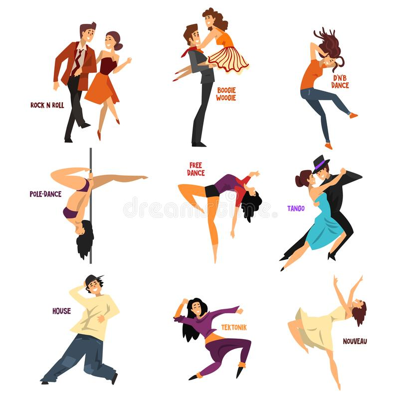 Professional dancer people dancing, young man and woman performing modern and classical dances vector Illustrations on a royalty free illustration